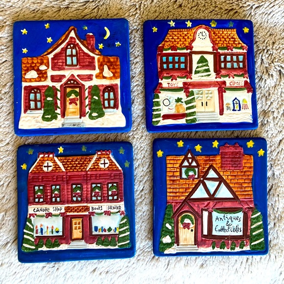 Christmas Holiday Coasters Set of 4 Blue Red